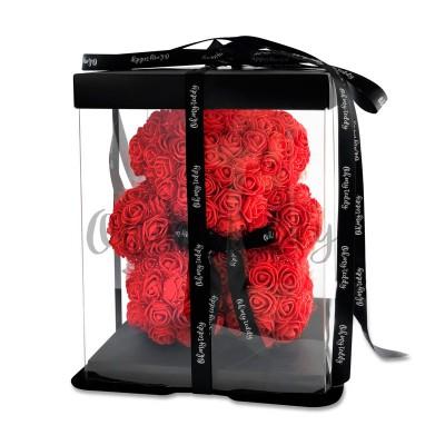 Красный мишка из роз Oh My Teddy 25 см