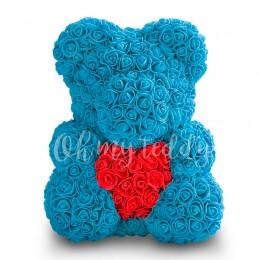 Голубой мишка из роз с сердцем 40 см