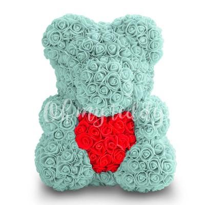 Мятный мишка из роз с сердцем 40 см