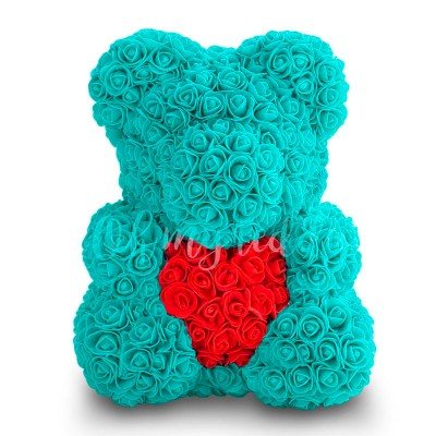 Тиффани мишка из роз с сердцем 40 см