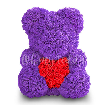 Фиолетовый мишка из роз с сердцем 40 см