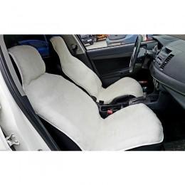 Автонакидка на переднее сиденье из шерсти (белая)