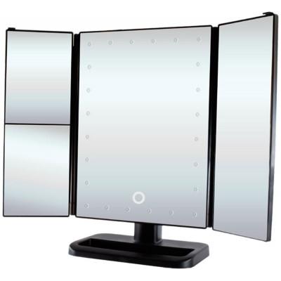 Зеркало косметическое, раскладное, сенсорный экран, с подсветкой, 24 LED