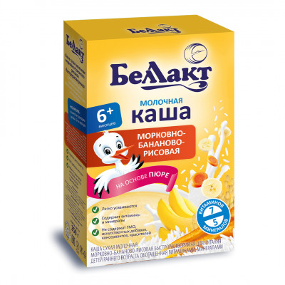"Каша молочная морковно-бананово-рисовая ""Беллакт"" с 6 месяцев (200 г)"